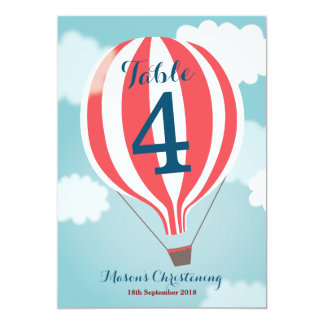 Red White Hot Air Balloon Table Number Card