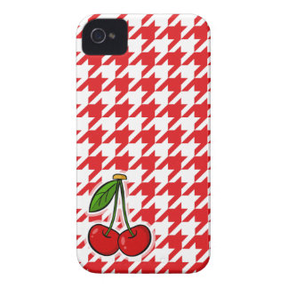 Red White Houndstooth Cherries iPhone 4 Cover