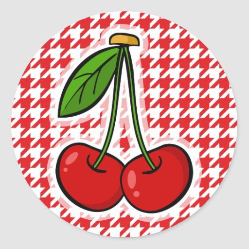 Red & White Houndstooth; Cherries Stickers