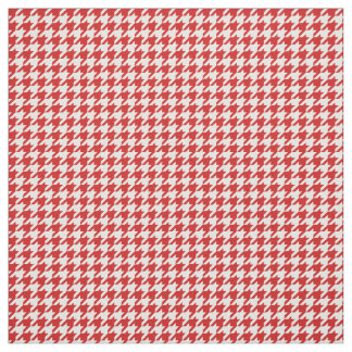 Red White Houndstooth Pattern Fabric