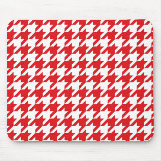 Red & White Houndstooth Pattern Mouse Pad