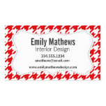 Red & White Houndstooth Pattern Pack Of Standard Business Cards