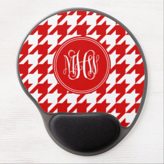 Red White Houndstooth Red Vine Script Monogram Gel Mouse Pad