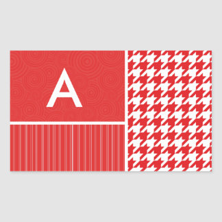 Red White Houndstooth Rectangle Sticker
