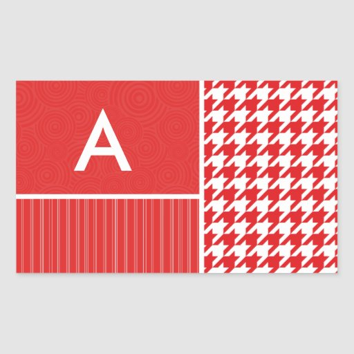 Red & White Houndstooth Rectangle Sticker