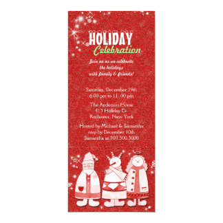 Red White Joyous Holiday Celebration Party 10 Cm X 24 Cm Invitation Card