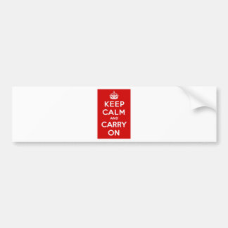 Red & White Keep Calm And Carry On Bumper Sticker