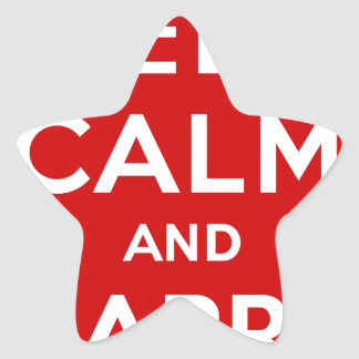 Red & White Keep Calm And Carry On Star Sticker