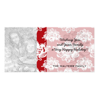 red white large romantic valentine damask photo cards