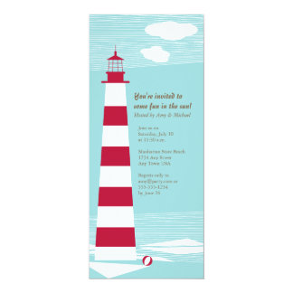 Red White Lighthouse Party Invite