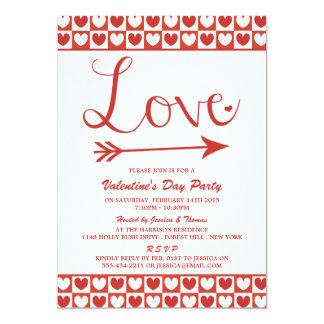Red & White Love Hearts Valentine's Day Party 13 Cm X 18 Cm Invitation Card
