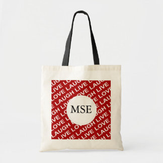 Red White Love Text Pattern Budget Tote Bag