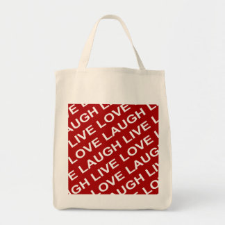 Red White Love Text Pattern Grocery Tote Bag