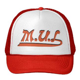 Red White M U L Logo Cap Trucker Hat