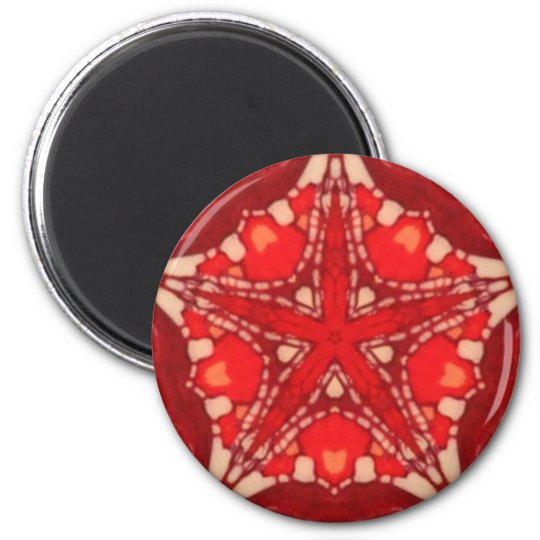 Red White Mandala Star Fractal Geometry Magnet
