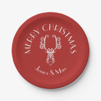 Red & White MERRY CHRISTMAS Christmas Reindeer Paper Plate