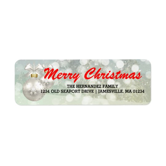 Red White Merry Christmas Return Address Labels