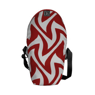 Red White Modern Abstract Geometric Patterns Messenger Bag