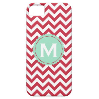 Red White Monogram Chevron Pattern iPhone 5 Covers