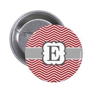 Red White Monogram Letter E Chevron 6 Cm Round Badge