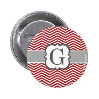 Red White Monogram Letter G Chevron 6 Cm Round Badge
