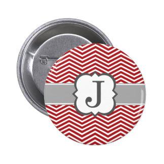 Red White Monogram Letter J Chevron 6 Cm Round Badge