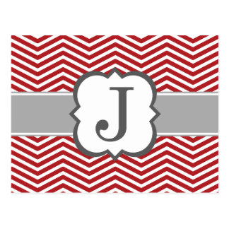 Red White Monogram Letter J Chevron Postcard