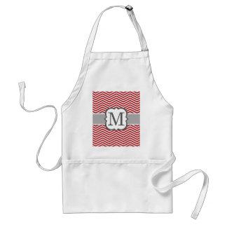 Red White Monogram Letter M Chevron Standard Apron