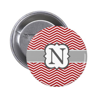 Red White Monogram Letter N Chevron 6 Cm Round Badge