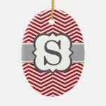 Red White Monogram Letter S Chevron Ceramic Oval Decoration