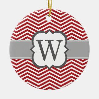 Red White Monogram Letter W Chevron Christmas Ornament