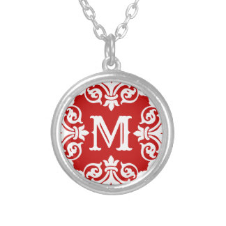 Red white monogrammed silver plated necklace