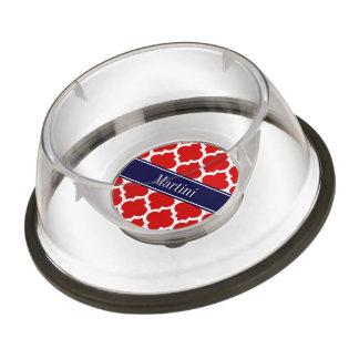Red White Moroccan #5 Navy Blue Name Monogram Pet Bowl