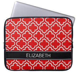 Red White Moroccan #6 Black Name Monogram Laptop Sleeve