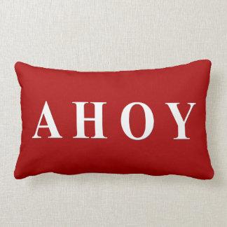 Red White Nautical Sailing Stripes Lumbar Pillow