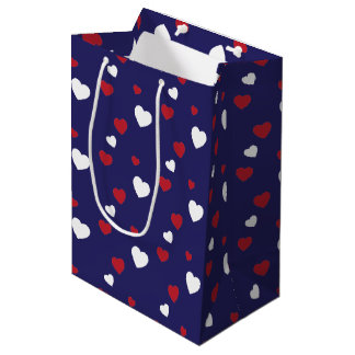 Red, White, Navy Blue Hearts Pattern Medium Gift Bag