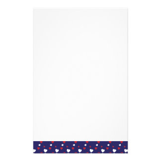 Red, White, Navy Blue Hearts Pattern Stationery