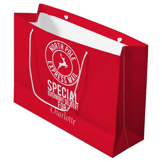 Red & White North Pole Express Mail Name Gift Bag