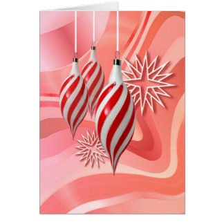 RED & WHITE ORNAMENTS by SHARON SHARPE Greeting Card