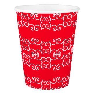 Red White Ornate 4Cate Paper Cup