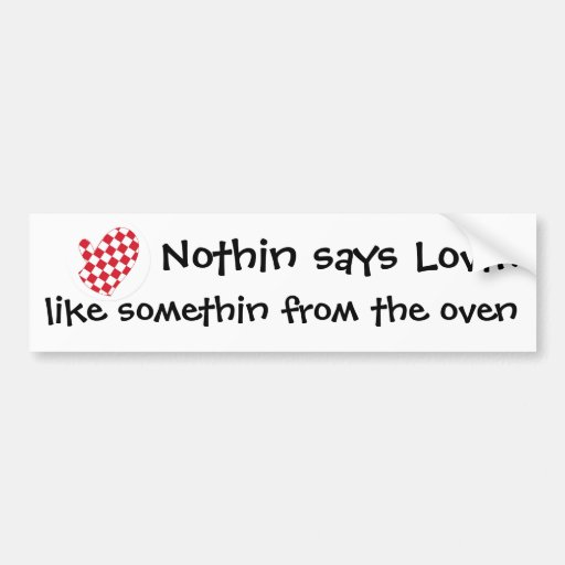 Red white oven mitt bumper stickers