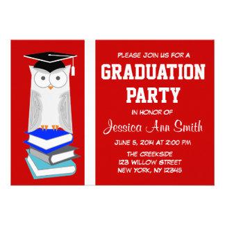 Red/White Owl Graduation Announcement