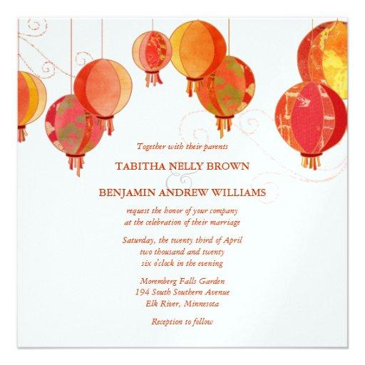 Red White Paper Lanterns Wedding (Metallic Ice) Personalized Invitations