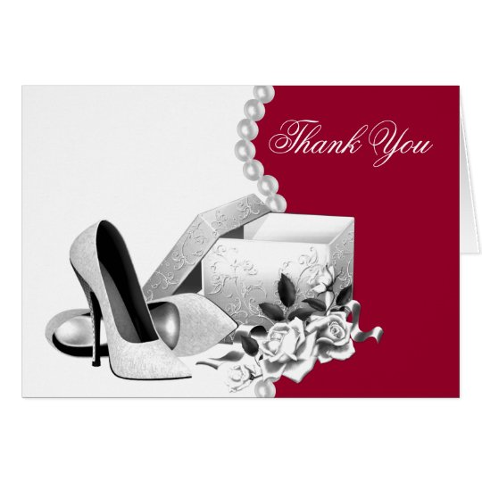 Red White Pearls High Heel Shoes Thank You Cards