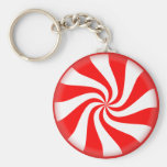 Red White Peppermint Candy Basic Round Button Key Ring