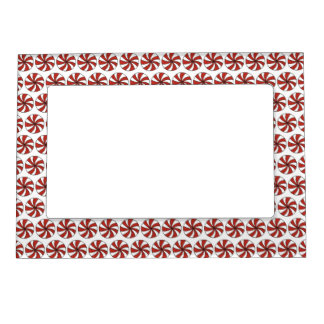 Red White Peppermint Candy Mint Holiday Christmas Magnetic Picture Frame