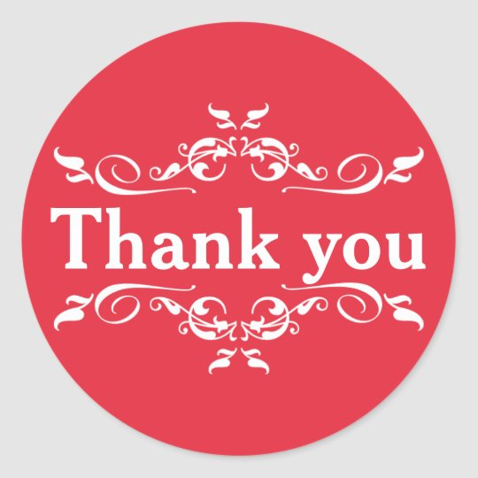 Red & White Personalised Thank You Classic Round