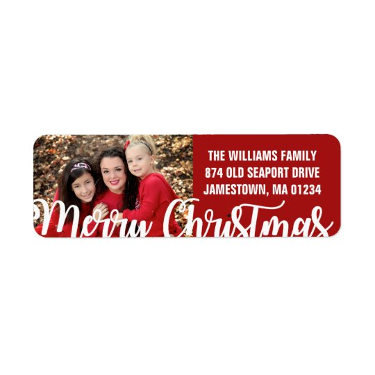 Red White Photo Christmas Return Address Labels
