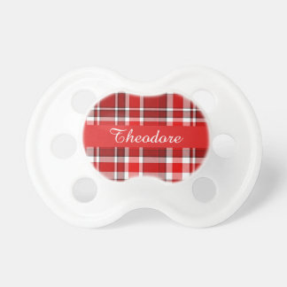 Red White Plaid Baby Name Custom Pacifiers