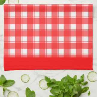 Red White Plaid Patten Kitchen Towel